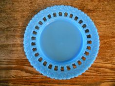 "Vintage Milk Glass 8 3/8"" Blue Plate Open Lace Swirl design Marked 208"