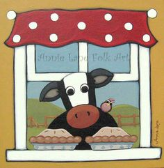 COW PIES - Whimsical Cow Painting by Annie Lane - Shop for Annie Lane Folk Art @ https://www.etsy.com/shop/AnnieLane