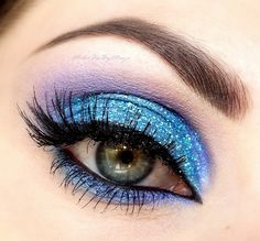 Blue Glitter Eyes #eye #makeup #eyes #eyeshadow #bright #glitter  #dramatic #bold