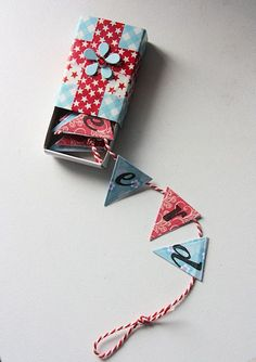Tiny Birthday banner in a matchbox Matchbox Crafts, Matchbox Art, Bug Crafts, Diy And Crafts, Paper Crafts, Craft Gifts, Diy Gifts, Diy Birthday, Birthday Banners