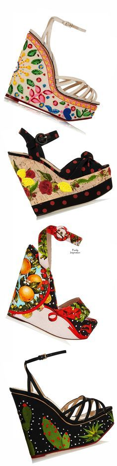 Spring 2015 forecast - Charlotte Olympia, Dolce & Gabbana SS2015 Wedges http://www.net-a-porter.com/product/501142/Charlotte_Olympia/celebration-meredith-embellished-linen-sandals