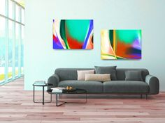 ID88 Colorful Trendy Abstract Wall Art. Large or Small Prints. Set of 2. Affordable Art Bright Modern Home or Office Decor. Instant Download by ElcoStudio on Etsy