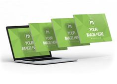 3D Hovering Laptop Screens Mockup Template | ShareTemplates