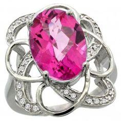 Natural 5.59 Ctw Pink-topaz & Diamond Engagement Ring