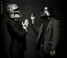 Tattooed bloggers (and Star Wars fanatics)Matti&Frikkiteamed up with their friend and photographerM.Flóvent Ljósmyndunto create a seriously awesome Star Wars inspired fashion shoot.  Boba Fett helmet? Check. Darth Vader helmet? Check. Cool tats? Check. Sharp suits? Check.  And these are...