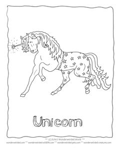 Realistic Unicorn Coloring Pictures Book FREE to print at www.wonderweirded-creatures.com/realistic-unicorn-coloring-pictures-book.html , Fantasy Coloring Pages and Unicorn Patterns