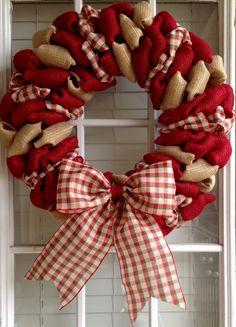 Navidad corona guirnalda de arpillera guirnalda por JnSMDesigns