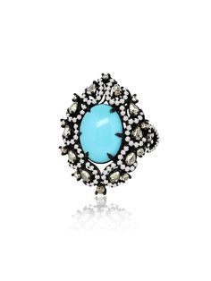 Sutra Jewels Diamond And Turquoise Open Lace Ring