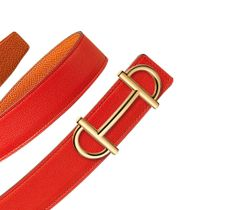 Belt Kit Hermès 32 mm Women   Reversible leather belt strap in Capucine Swift and Orange Epsom calfskin, leather lining (width: 32 mm) & Women's buckle in gold-plated metal (width: 32 mm)   Ref. H052147CADH085 & H067103CC06   £570.00