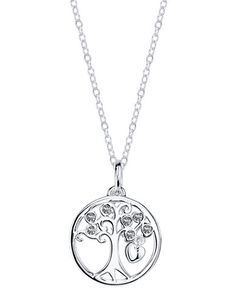 Sterling Silver Cubic Zirconia Tree of Life Pendant Necklace | Lord and Taylor
