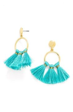Tassels in bold hues lend a flirty, summery touch to a statement hoop. Handle with Care Instructions: We recommend storing on a jewelry stand to avoid threads bending. Wrap tassels for travel to keep their shape. Tassel Drop Earrings, Tassel Jewelry, Beaded Earrings, Diy Jewelry, Jewelery, Jewelry Accessories, Women Jewelry, Fashion Jewelry, Jewelry Making