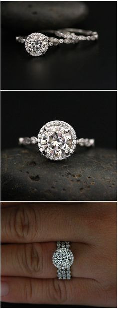 White Gold Moissanite Engagement Ring and Bridal Ring Set with Forever Classic Moissanite Round 8mm