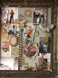 Shabby chic collage over vintage frame Inspiration Boards, Journal Inspiration, Collages, Romantic Cottage, Romantic Mood, Painted Cottage, Fabric Journals, Old Frames, Hope Chest