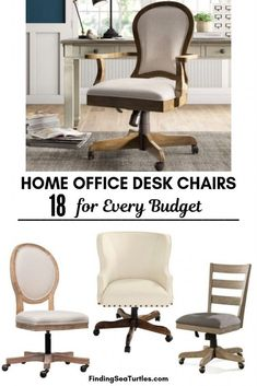 18 Modern Farmhouse Office Chairs for Your Workspace - Finding Sea Turtles Farmhouse Office Chairs, Wooden Office Chair, Grey Desk Chair, Chair Design Wooden, Best Office Chair, Home Office Chairs, Office Workspace, Dining Room Chair Cushions, Wayfair Living Room Chairs
