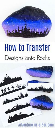 How to Transfer Silhouette Designs onto Rocks Do you like painting rocks, but cannot draw an intricate silhouette design directly on it? Try one of these three ways to transfer pictures onto rocks! Pebble Painting, Pebble Art, Stone Painting, Diy Painting, Painting Lessons, Painting Tutorials, Stone Crafts, Rock Crafts, Diy Crafts