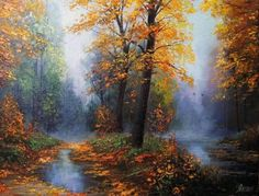 Foggy morning - Painting - artist, morning, fallen leaves, art, autumn, yellow…