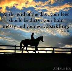 At the end of the day your feet should be dirty your hair messy and your eyes - Horses Funny - Funny Horse Meme - - At the end of the day your feet should be dirty your hair messy and your eyes sparkling. Cowboy Quotes, Cowgirl Quote, Rodeo Quotes, Horse Riding Quotes, Horse Girl Quotes, Horse Sayings, Cute Horse Quotes, Girl Sayings, Animal Quotes