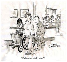 Coming Back. Don Orehek. Hospital Cartoon, Medical Humor, Comebacks, Cartoons, Doctor Humor, Cartoon, Cartoon Movies, Comics And Cartoons, Comic Books