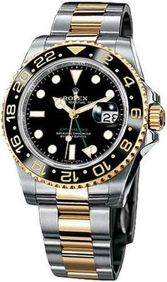 Rolex GMT Master II Black Index Dial Oyster Bracelet 18k Yellow Gold and Stainles Steel Mens Watch 116713BSO #Glimpse_by_TheFind