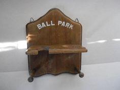 Wooden Baseball and Bat Holder Ball Park sign Coat Hat Rack 2 Hooks