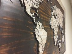 Wood Wall Art, World map wall art, carved wooden world map with countries, Wooden Anniversary, Vintage Map, Rustic, Shabby Chic Home Decor by HowdyOwl on Etsy