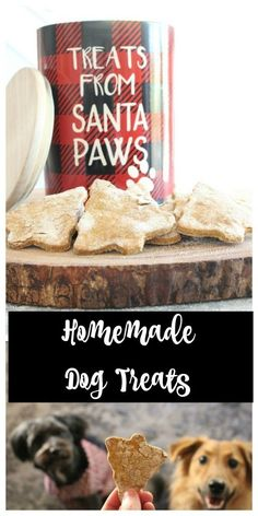 Homemade Dog Treats for Christmas. Dogs love them and they are easy to make! Dog treats with pumpkin and peanut butter!