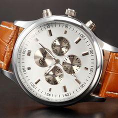 DALAS Round Dial Analog Quartz Brown Leather Unisex Women Mens Sport Wrist Watch