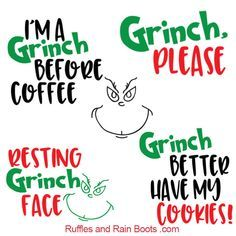 These free Grinch SVGs are the perfect way to get anyone into the Christmas spirit. From Resting Grinch face to cookies, grab these free Christmas SVGs now. Merry Christmas, Christmas Vinyl, Christmas Mugs, Christmas Shirts, Christmas Projects, Christmas Humor, Christmas Quotes, Holiday Crafts, Whoville Christmas