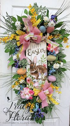 Deluxe Easter Swag Wreath, Measurement 42 inches tall ~ This distinctive, whimsical Easter B. Easter Wreaths, Holiday Wreaths, Easter Crafts, Easter Decor, Happy Easter Bunny, Easter Parade, Making Ideas, Pink Peonies, Easter Eggs