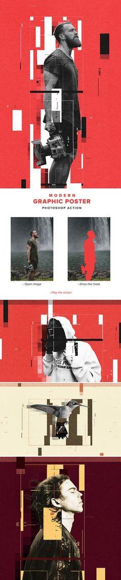 Modern Graphic Poster Action #digitalphotography #photoeffect #photoshopactions #tutorials