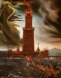 "Painting Of The Lighthouse Of Alexandria.  ""The Lighthouse of Alexandria, sometimes called the Pharos of Alexandria (/ˈfɛərɒs/; Ancient Greek: ὁ Φάρος τῆς Ἀλεξανδρείας), was a lofty tower built by the Ptolemaic Kingdom between 280 and 247 BC and between 393 and 450 ft (120 and 137 m) tall."""