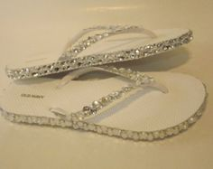 Rhinestone Bling Flip Flop Wedge Sandals Bridal by EVRhinestones