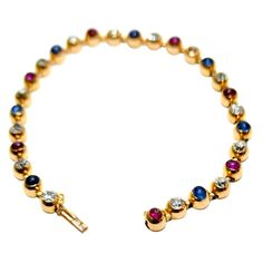 1900's Exqusite French Diamond Ruby & Sapphire Gold Bracelet. | 1stdibs.com