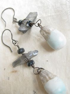 On an Aching Sea  rustic gemstone assemblage by FadeandRemain