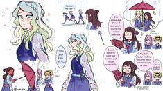 Little Wich Academia, My Little Witch Academia, Cute Lesbian Couples, Lesbian Art, Yuri Anime, Otaku Anime, Girls In Love, My Love, Owl House