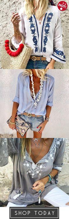 Cotton/Linen Vintage Printed V-Neck Casual Blouse,Fashionable Button V Collar Lo. - - Cotton/Linen Vintage Printed V-Neck Casual Blouse,Fashionable Button V Collar Long-Sleeve Blouse,Judedress Casual Boho V-Neckline Blouses Source by Trendy Dresses, Nice Dresses, Fashion Dresses, Dresses With Sleeves, Belted Shirt Dress, Tee Dress, Boho Bluse, Tee Shirt Dentelle, Boho Fashion