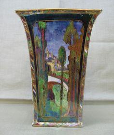 DAISY MAKEIG JONES Wedgwood Fairyland Lustre Vase Castle on the Road with Bridge