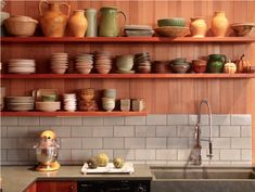 Open shelving kitchen rustic kitchen contemporary with floating shelves wood shelves display shelves Wood Wall Shelf, Wall Shelves Design, Wood Shelves, Floating Shelves, Display Shelves, Rustic Kitchen, Kitchen Decor, Warm Kitchen, Open Kitchen