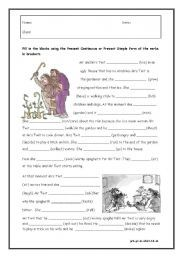 English worksheet: Pres Cont & Simple with The Twits