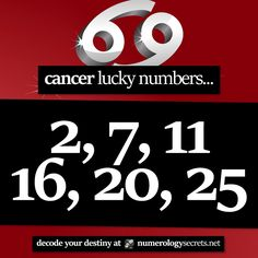 #Cancer lucky numbers... ⭐