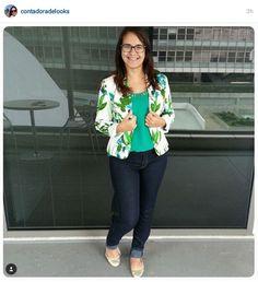 floral blazer; jeans pants; green blouse