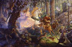 Faeries and Little Folk: Fairy Magic Art And Illustration, Illustrations, Fantasy Kunst, Fantasy Art, Unicornios Wallpaper, Forest Wallpaper, Dragons, Magical Tree, Unicorn Horse