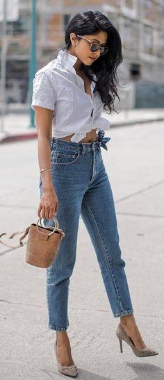 cute summer ootd shirt + rips + heels