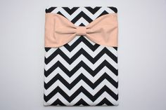 MacBook Pro / Air Case Laptop Sleeve - Black and White Chevron Peach Bow by AlmquistDesignStudio on Etsy