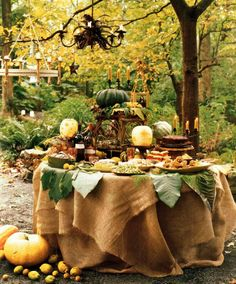 Alfresco Fall entertaining - love the burlap tablecloth and the chair/stool on tabletop with pumpkin <3