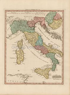 Ancient Italy Old Map Scan Finley 1824