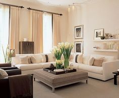 Modern Living Room Interior Design Ideas - I have a ivory sectional already. I wonder if I could get away with keeping the living room this light in color...hmmm