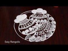 Bhogi Kundalu kolam    Sankranthi Muggulu    Easy Pongal Pot rangoli designs by Easy Rangolis - YouTube Best Rangoli Design, Indian Rangoli Designs, Rangoli Designs Latest, Rangoli Border Designs, Rangoli Designs With Dots, Beautiful Rangoli Designs, Rangoli Borders, Rangoli Patterns, Rangoli Ideas