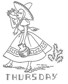 Thursday Mexican Girl Days of the Week mexican Design 2546 f Embroidery Transfers, Hand Embroidery Patterns, Embroidery Applique, Cross Stitch Embroidery, Cross Stitch Patterns, Mexican Embroidery, Vintage Embroidery, Lazy Daisy Stitch, Embroidery Techniques