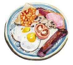 Watercolour Breakfast Food Illustrations